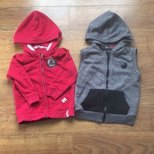 Size 2 Canada zip up sweater& gray vest